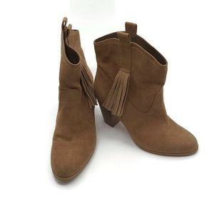 Nine West Inwood Leather Tan Ankle Boots Size 6.5